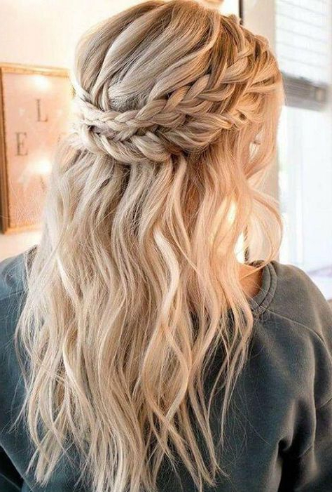 Double Crown Of Plaits And Loose Waves In (View 12 of 20)