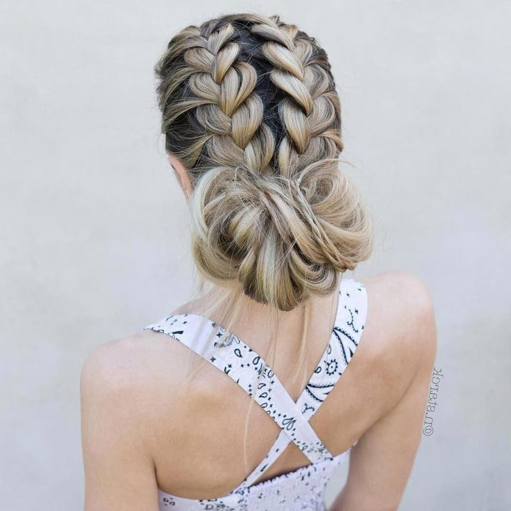 Double French Messy Bun – Double Dtuch Braids #hairstyle # For Well Known Messy Twisted Braid Hairstyles (View 2 of 20)
