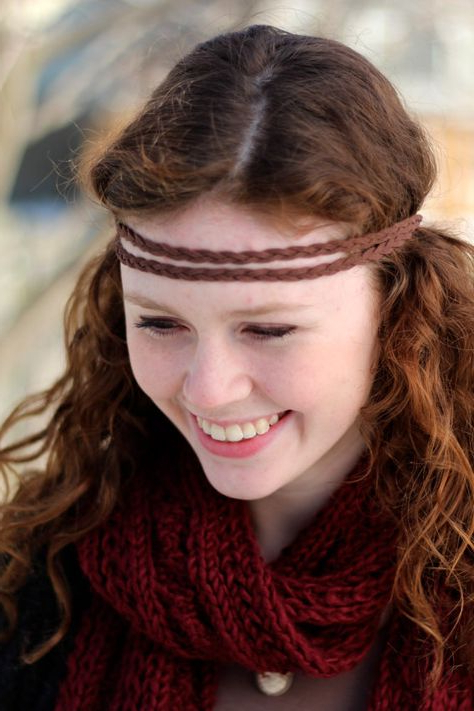 Double Strand Braided Suede Leather Headband Pertaining To Well Known Hippie Braid Headband Hairstyles (View 10 of 20)