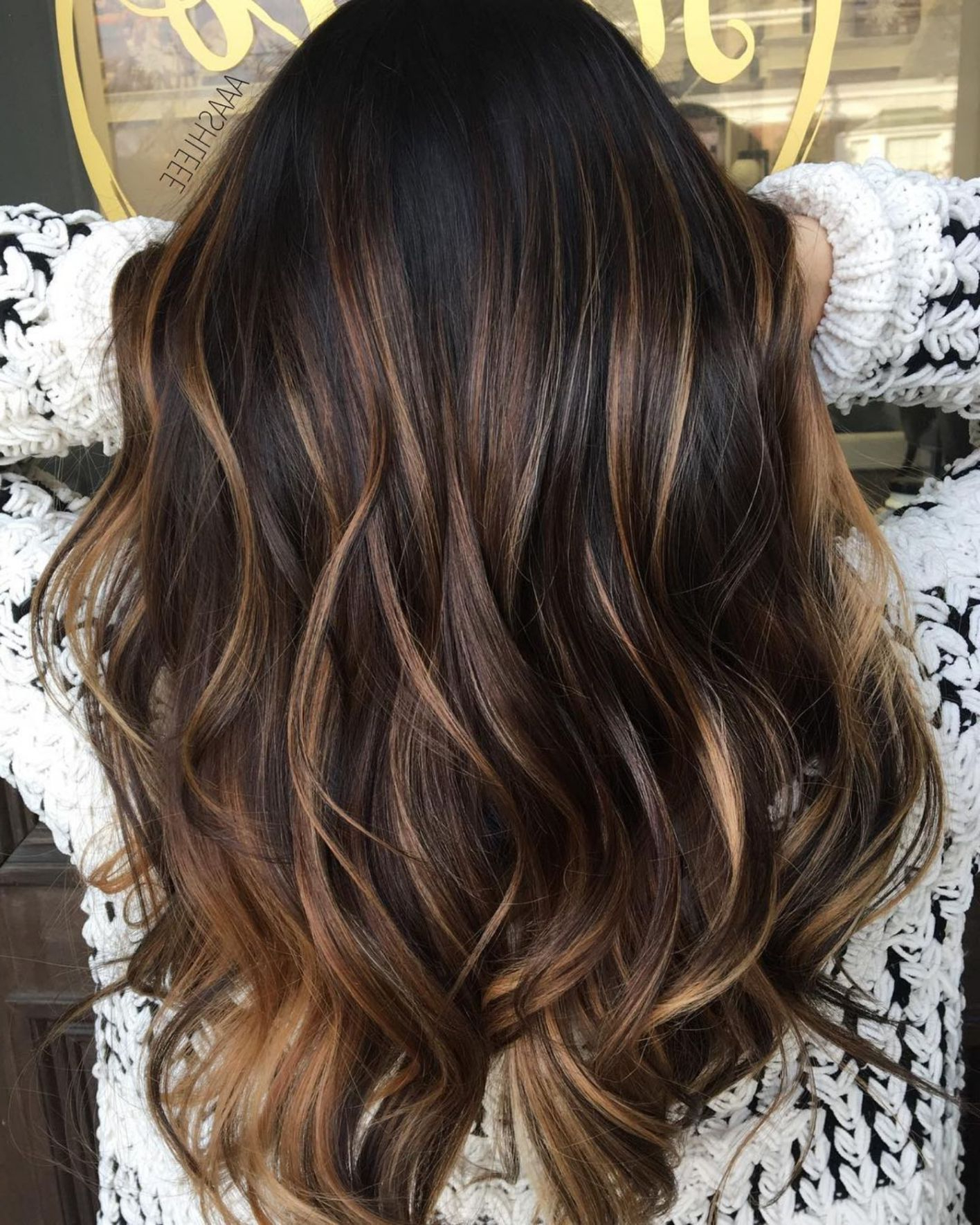 Famous Natural Curls Hairstyles With Caramel Highlights Throughout 60 Hairstyles Featuring Dark Brown Hair With Highlights (View 5 of 20)