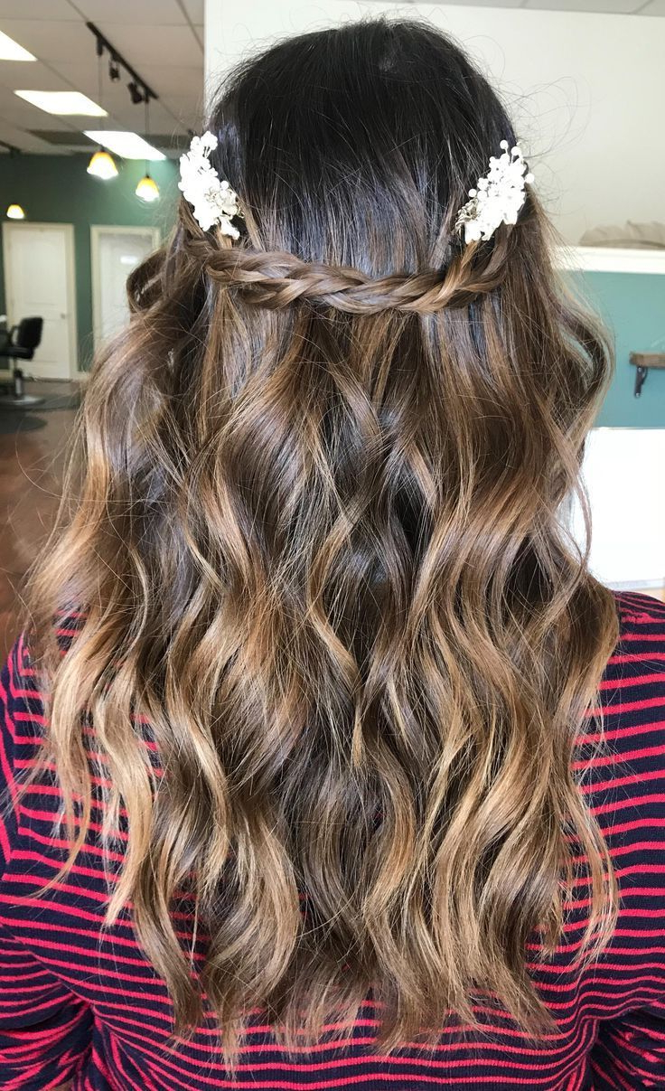 Fashionable Bridal Crown Braid Hairstyles Inside #hairgoals Braided Beach Waves Half Up Half Down Wedding (View 9 of 20)