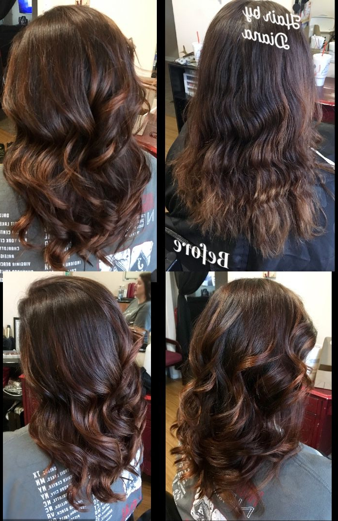 Fashionable Deep Chocolate Curls Hairstyles With High Contrast Highlights With Chocolate Brown With Deep Copper Balayage #fallcolors (View 11 of 20)