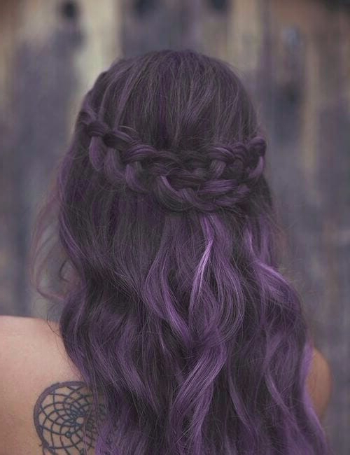 Fashionable Light Pink Semi Crown Braid Hairstyles Regarding 50 Beautiful Purple Hair Color Ideas And Styles – My New (View 17 of 20)