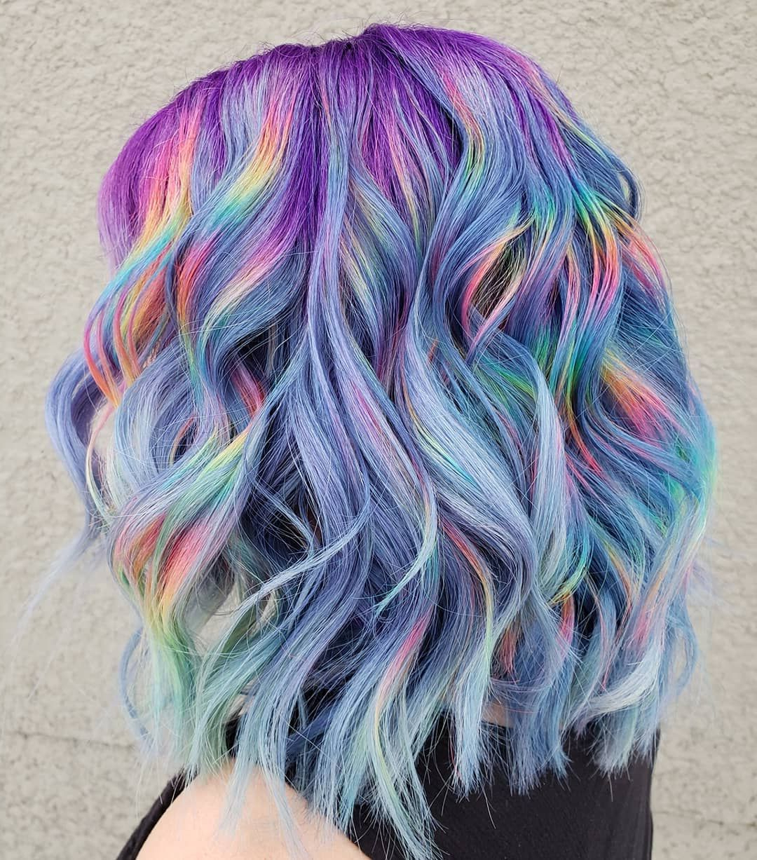 Fashionable Pastel Rainbow Colored Curls Hairstyles With Regard To @hairbymisskellyo (View 11 of 20)