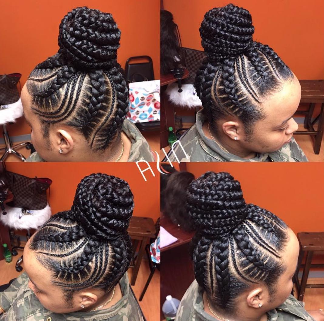 Flawless Braid Bun Via @nisaraye – Black Hair Information Regarding Most Recently Released Reverse Braided Buns Hairstyles (View 13 of 20)