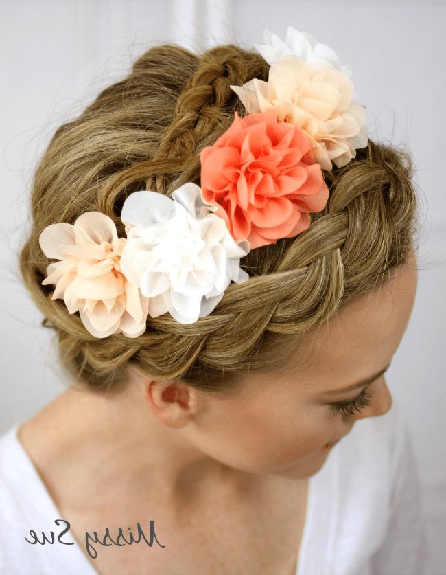 Flower Crown Braid Pertaining To Preferred Braided Crown Rose Hairstyles (View 13 of 20)