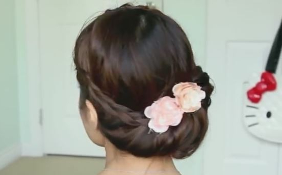 Fold Over Lace Braid Updo Hairstyle Tutorial Stepstep With Regard To Preferred Folded Braided Updo Hairstyles (View 17 of 20)