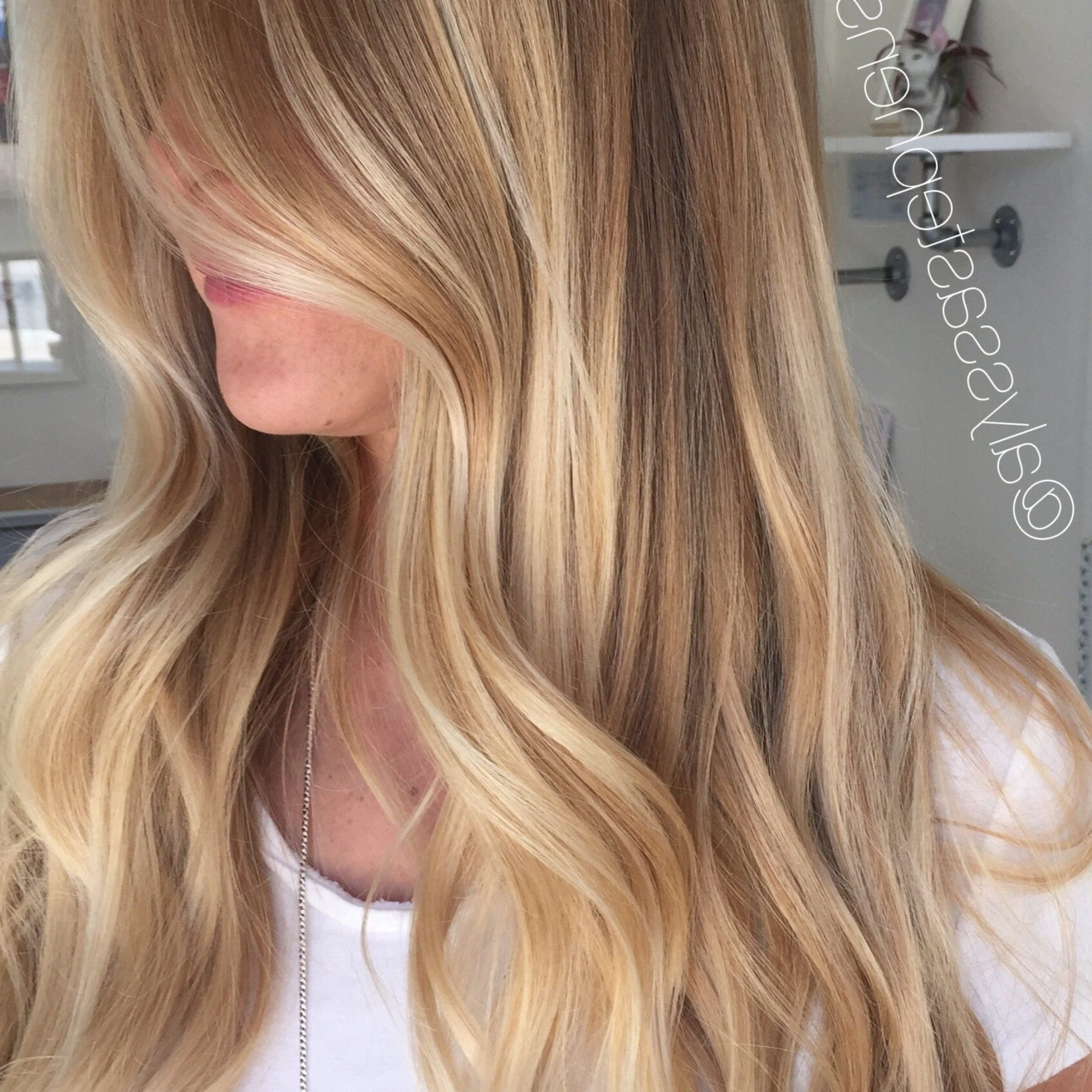 Golden Sunkissed Blonde Balayage Long Hair Balayage Hair With Regard To Well Known Golden Blonde Balayage On Long Curls Hairstyles (View 10 of 20)
