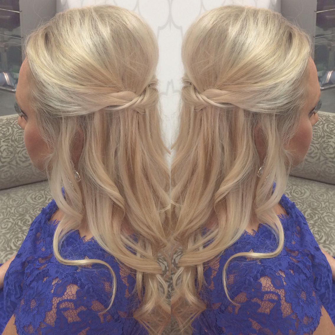 Half Updo Twisted Braid Loose Curls Blonde Wedding Party Pertaining To Most Recently Released Loose Highlighted Half Do Hairstyles (View 4 of 20)