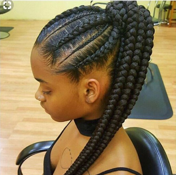 Latest Chic Black Braided High Ponytail Hairstyles Pertaining To Attractive 8 Feed In Braids Ponytail For Women – New (View 16 of 20)