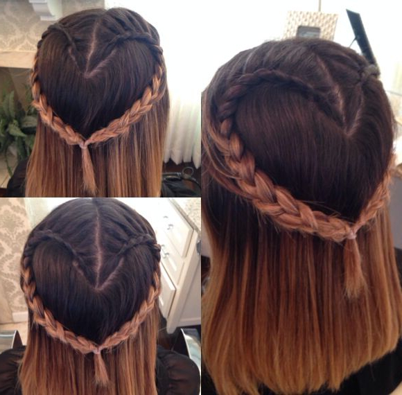 Latest Heart Braids Hairstyles Pertaining To Valentines Day Braided Heart (View 4 of 20)