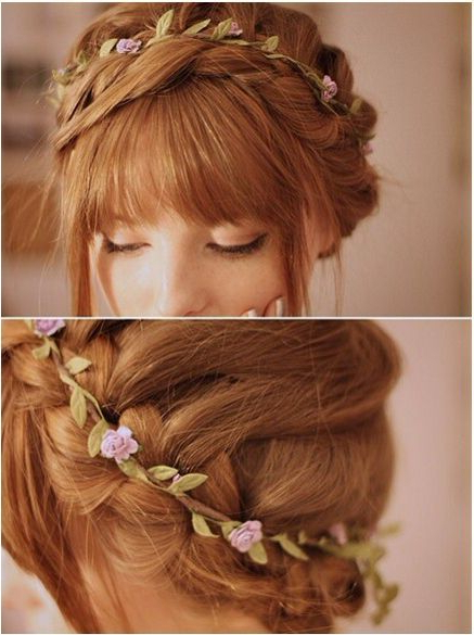 Latest Light Pink Semi Crown Braid Hairstyles For Beautiful Dutch/milk Maid Braid Centered With A Light (View 3 of 20)