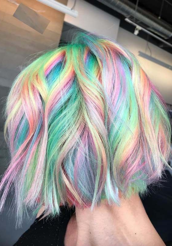 Latest Pastel Rainbow Colored Curls Hairstyles Inside Awesome Rainbow Hair Colors For Short Haircuts In (View 6 of 20)