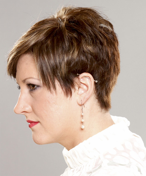 Layered Brunette Pixie Cut With Light Blonde Highlights With Regard To Widely Used Curly Pixie Hairstyles With Light Blonde Highlights (View 14 of 20)