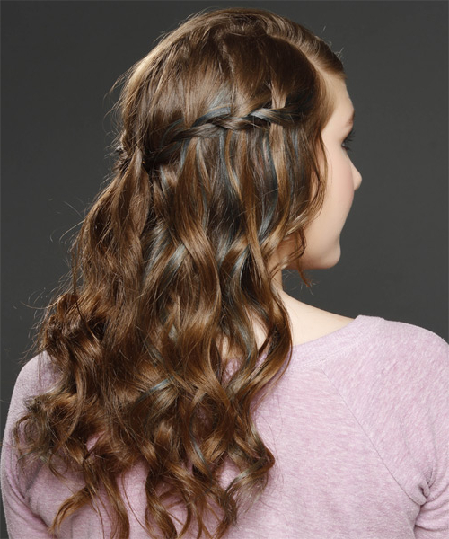 Long Curly Caramel Brunette Half Up Hairstyle With Blonde With Most Popular Loose Highlighted Half Do Hairstyles (View 10 of 20)