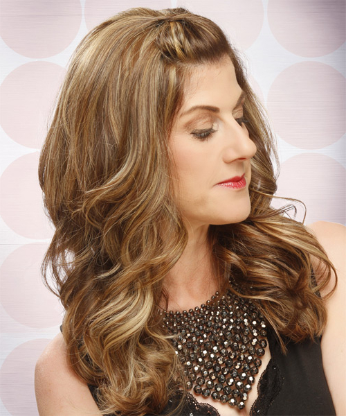 Long Curly Light Caramel Brunette Half Up Hairstyle With Throughout Preferred Painted Golden Highlights On Brunette Curls Hairstyles (View 12 of 20)