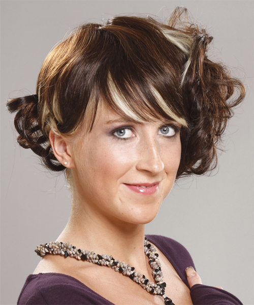 Medium Curly Brunette Updo With Blunt Cut Bangs And Light Intended For Well Known Painted Golden Highlights On Brunette Curls Hairstyles (View 7 of 20)