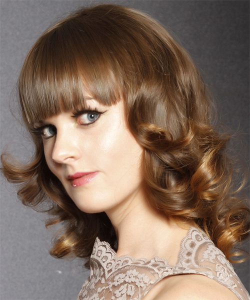 Medium Curly Caramel Brunette Hairstyle With Blunt Cut Bangs Inside Newest Medium Length Curls Hairstyles With Caramel Highlights (View 11 of 20)