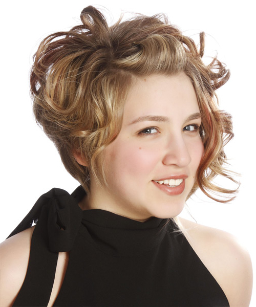 Medium Curly Dark Caramel Blonde Emo Half Up Hairstyle Inside Widely Used Loose Highlighted Half Do Hairstyles (View 14 of 20)