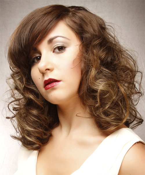 Medium Curly Light Brunette Hairstyle With Side Swept Within Most Recent Painted Golden Highlights On Brunette Curls Hairstyles (View 6 of 20)