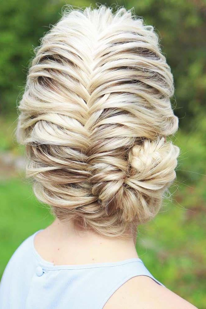 Most Popular Fishtail Updo Braid Hairstyles Throughout Fishtail Braided Updo Hairstyles #braids #updo #braidedbun (View 3 of 20)