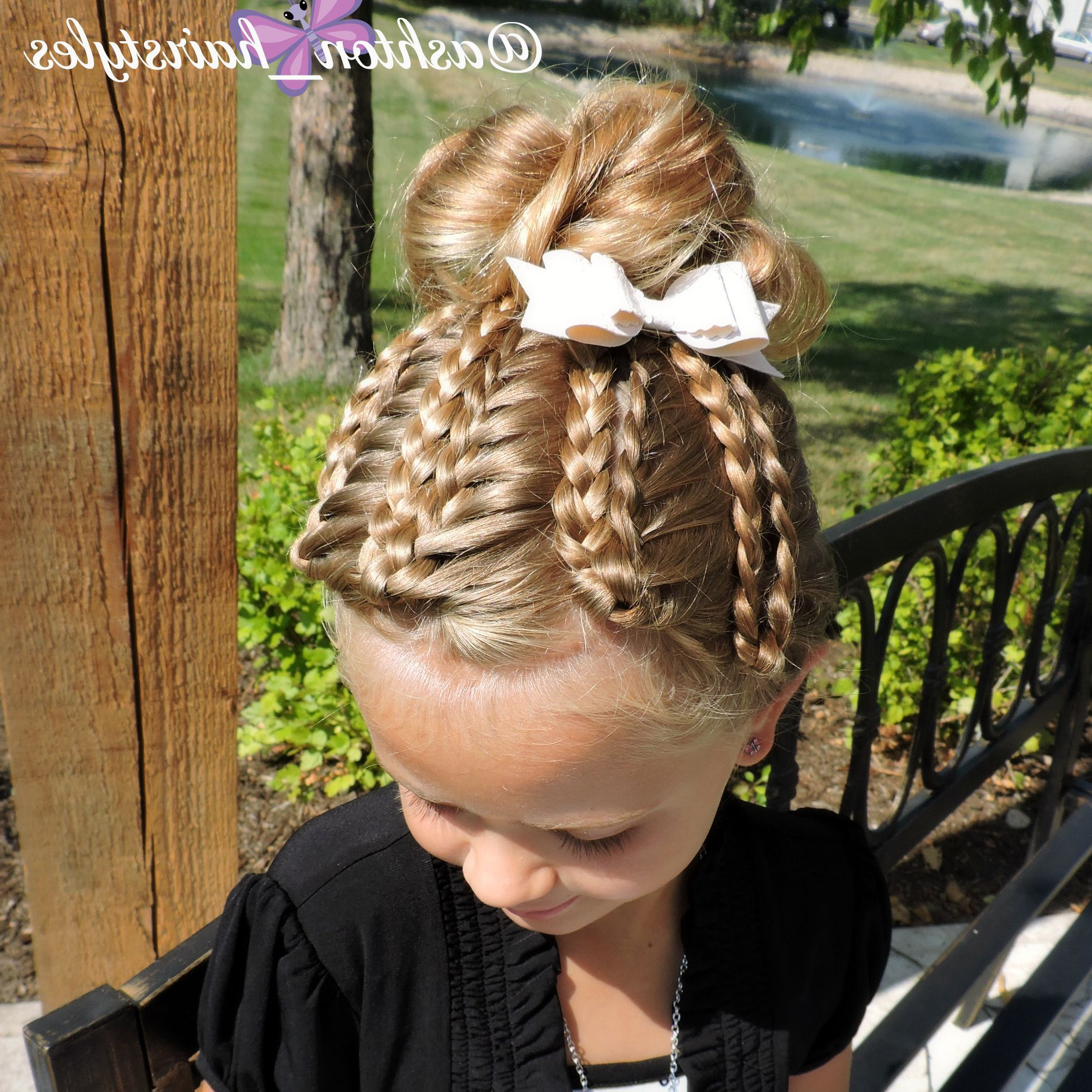 Most Popular Folded Braided Updo Hairstyles Within We Folded Back The Braids In The Front Of Her Messy Bun (View 8 of 20)