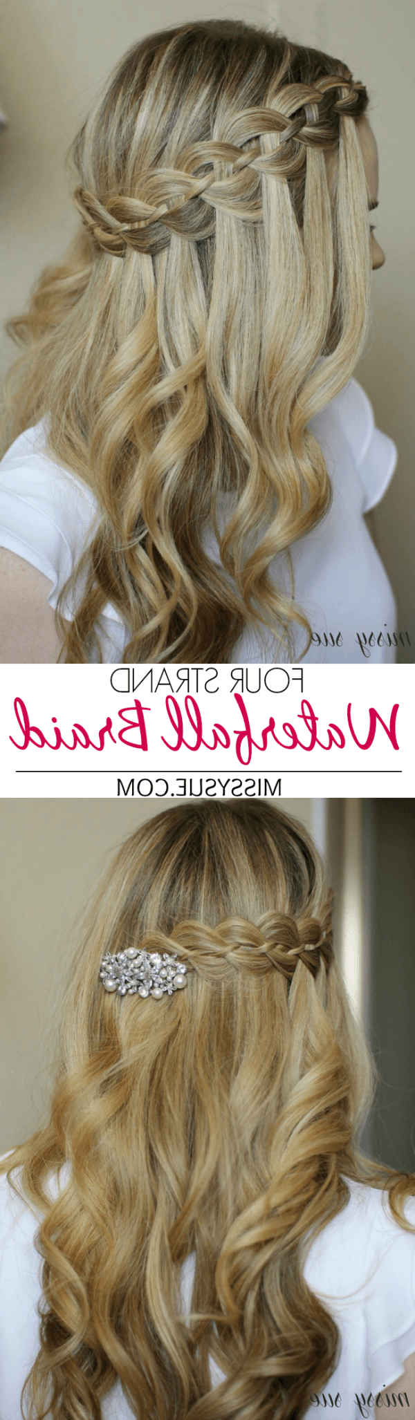 Most Recent Four Strand Braid Hairstyles With Regard To Four Strand Waterfall Braid (View 13 of 20)