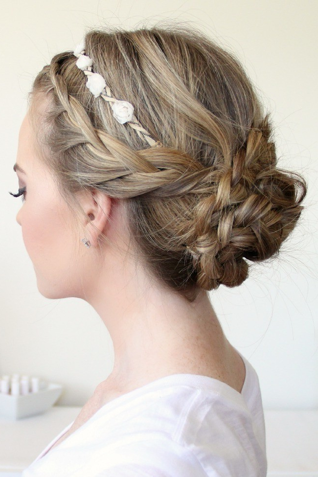 Most Recently Released Braided Crown Rose Hairstyles Intended For Braided Updo With A Flower Crown · How To Style A Crown (View 11 of 20)