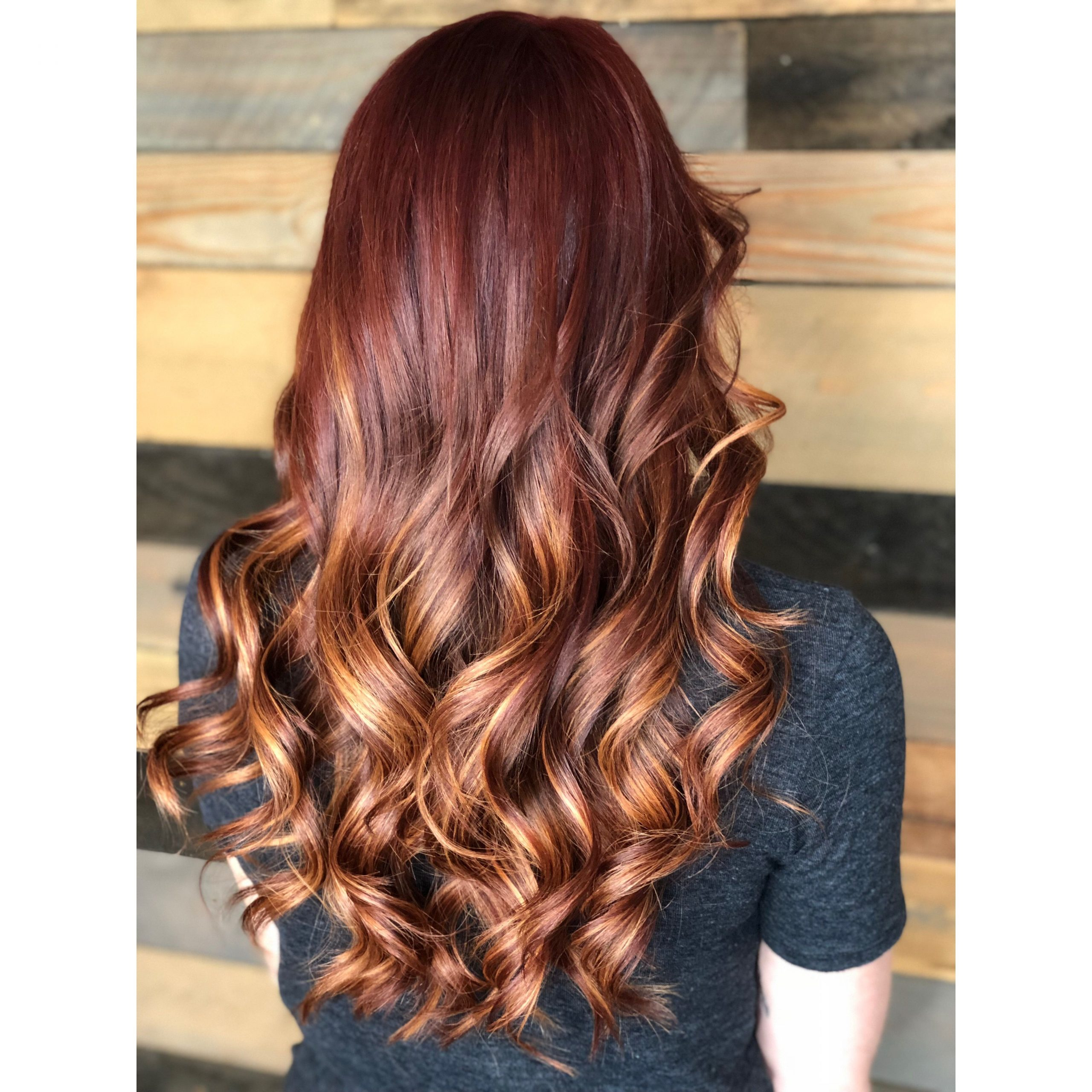 Most Recently Released Copper Curls Balayage Hairstyles Inside Red And Copper Balayage Highlights Hair @hairbychauntel (View 6 of 20)