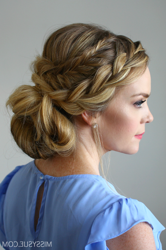Most Recently Released Fishtail Updo Braid Hairstyles With Regard To Fishtail French Braid Low Messy Bun (View 10 of 20)