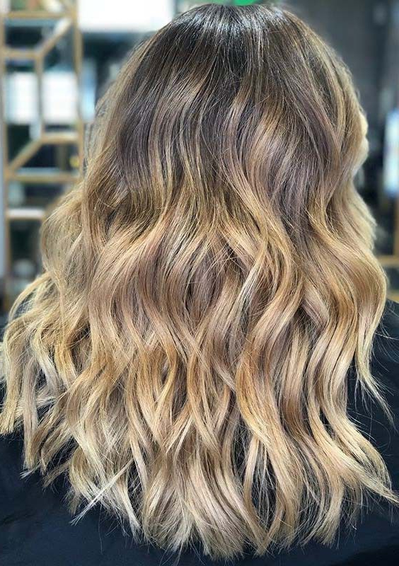 Most Recently Released Golden Blonde Balayage On Long Curls Hairstyles Pertaining To Magnificent Ideas Of Balayage Blonde Long Wavy Hairstyles (View 7 of 20)
