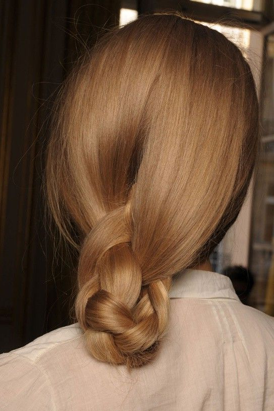 Most Recently Released Light Pink Semi Crown Braid Hairstyles With Regard To Braided Low Ponytail Tucked Into A Semi Chignon (con (View 12 of 20)