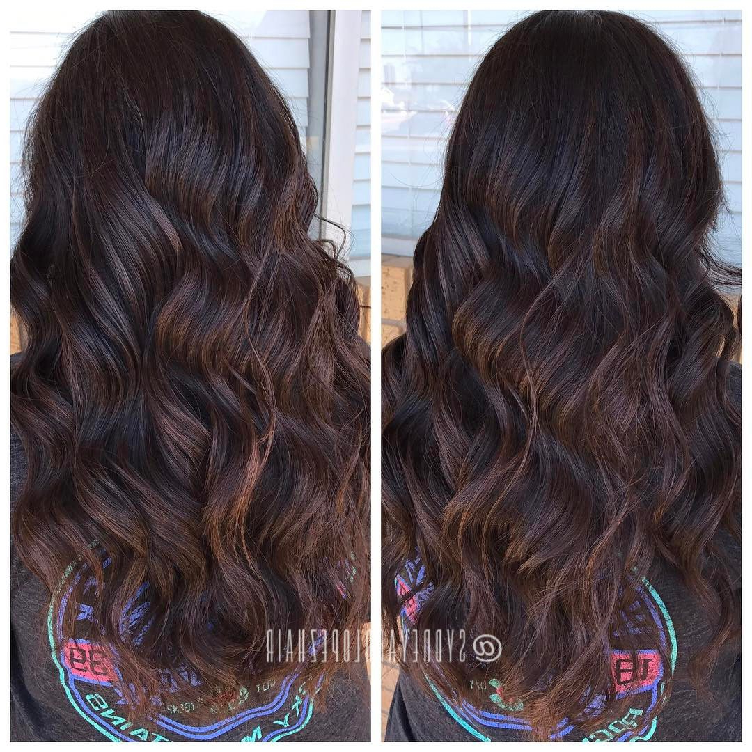 Most Up To Date Deep Chocolate Curls Hairstyles With High Contrast Highlights In Deep Dark Chocolate Base + Walnut Balayage # (View 17 of 20)