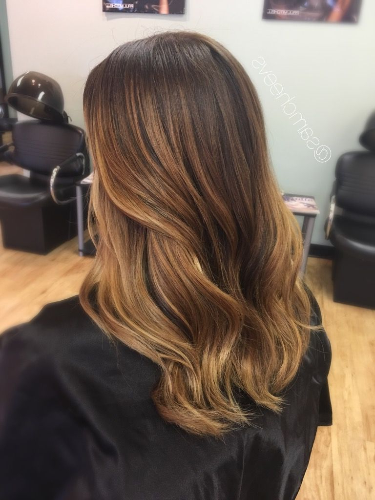 Most Up To Date Honey Kissed Highlights Curls Hairstyles Throughout Spring And Summer Balayage Highlights For Brown And Dark (View 15 of 20)