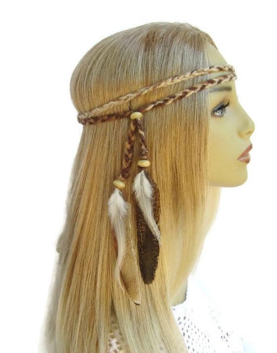 Natural Woman Braided Hippie Boho Headbandfeathers2gether Regarding Fashionable Hippie Braid Headband Hairstyles (View 12 of 20)