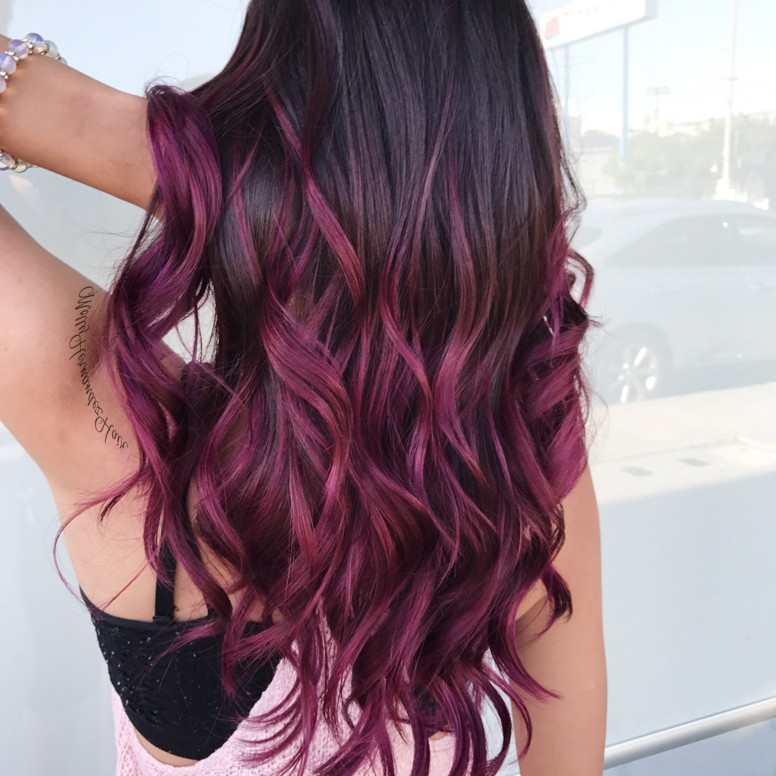 Newest Hot Pink Highlights On Gray Curls Hairstyles Throughout The 25+ Best Balayage Hair Purple Ideas On Pinterest (View 13 of 20)