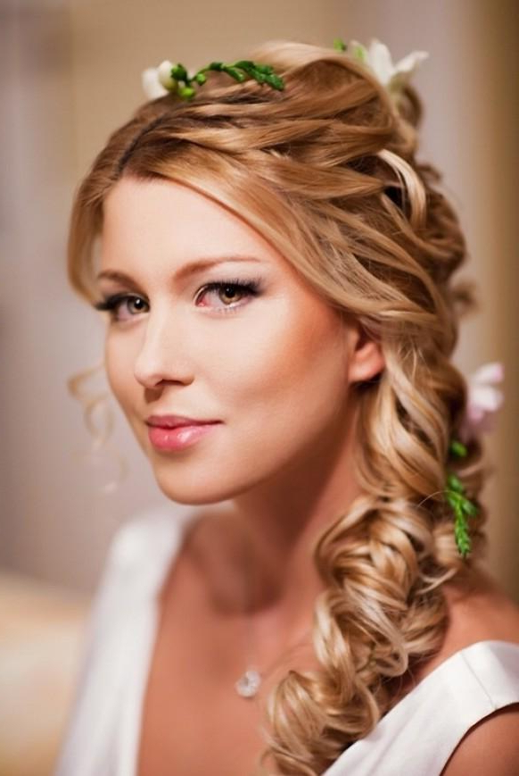 Newest Loose Pancaked Side Braid Hairstyles For Wedding Loose Side Braided Hairstyles With Pink Flower (View 6 of 20)