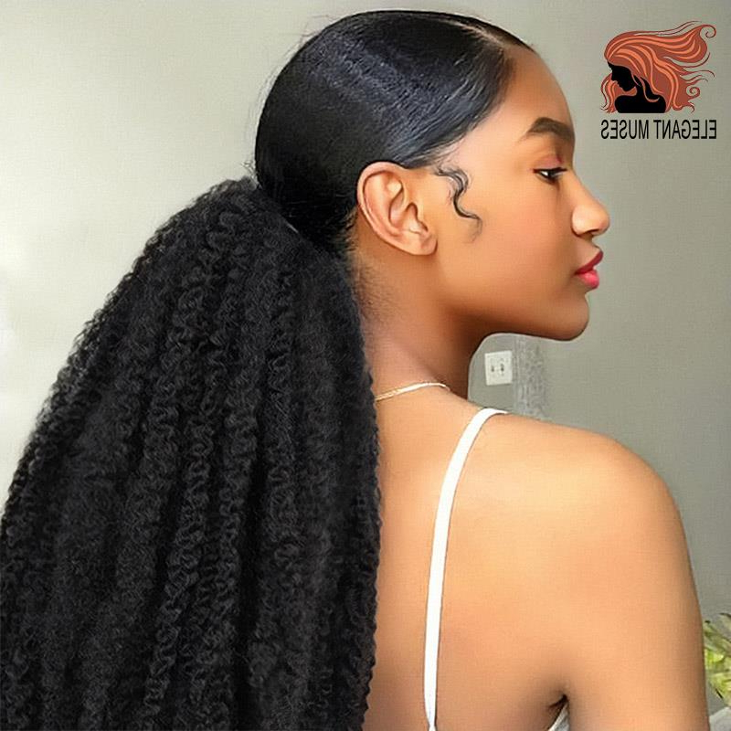 Newest Marley Twists High Ponytail Hairstyles For Afro Puff Marley Braids Hair Afro Kinky Straight Ponytail (View 3 of 20)