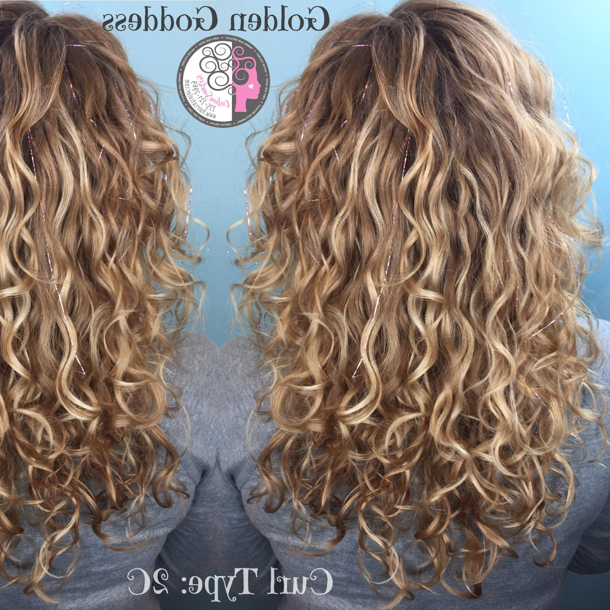 Newest Painted Golden Highlights On Brunette Curls Hairstyles In Naturally Curly Balayage Highlights Blond Haircarleen (View 15 of 20)