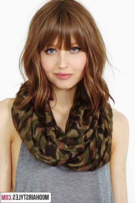 Pictures Of Shoulder Length Haircuts With Bangs Within Well Liked Middle Length Hairstyles With Highlights And Bangs (View 14 of 20)