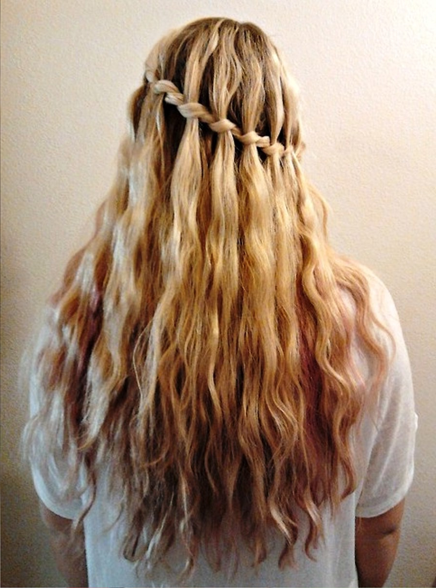 Pictures Of Stylish Waterfall Braid Hairstyle With Best And Newest The Waterfall Braid Hairstyles (View 13 of 20)