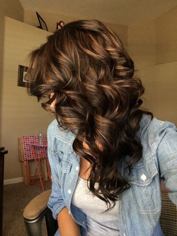 Pin On Hair With Regard To Best And Newest Medium Length Curls Hairstyles With Caramel Highlights (View 4 of 20)