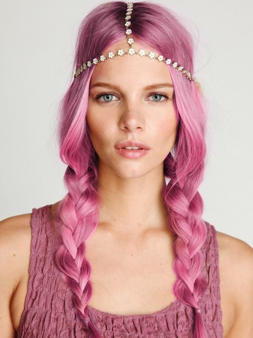 Pink 'hippy' Plaits With Daisy Headband – Hairstyles Weekly For Well Known Hippie Braid Headband Hairstyles (View 5 of 20)