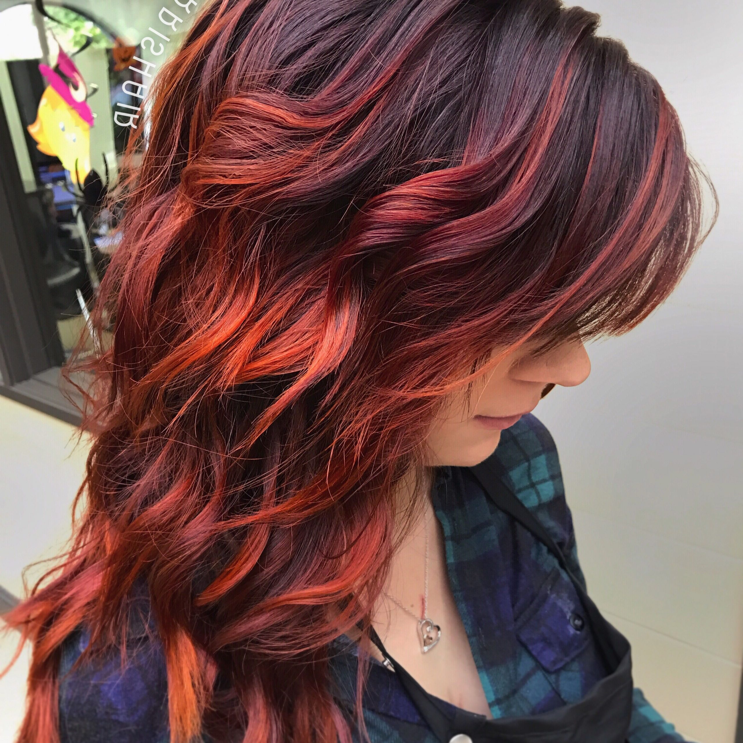 Popular Copper Curls Balayage Hairstyles Pertaining To Fiery Red Fall Hair, Balayage Highlights, Violet Red (View 9 of 20)