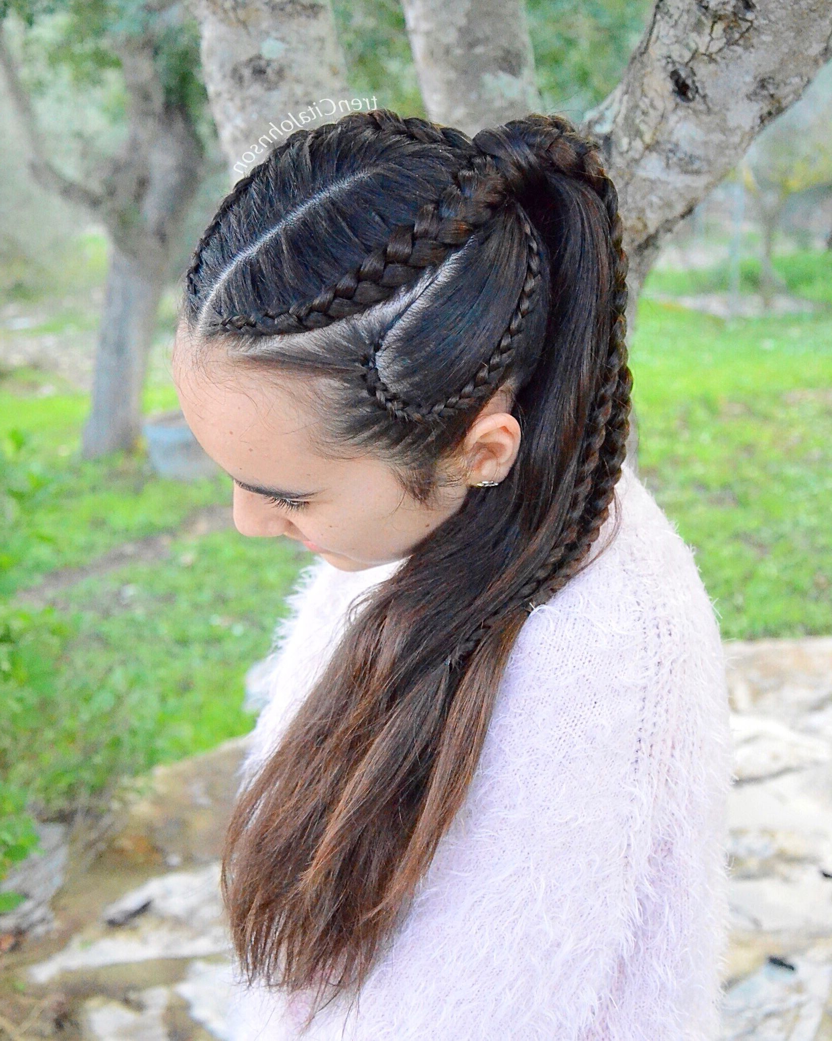 Popular Five Dutch Braid Ponytail Hairstyles In Ponytail With Double Dutch Lace Braids And Curvy Cornrows (View 10 of 20)