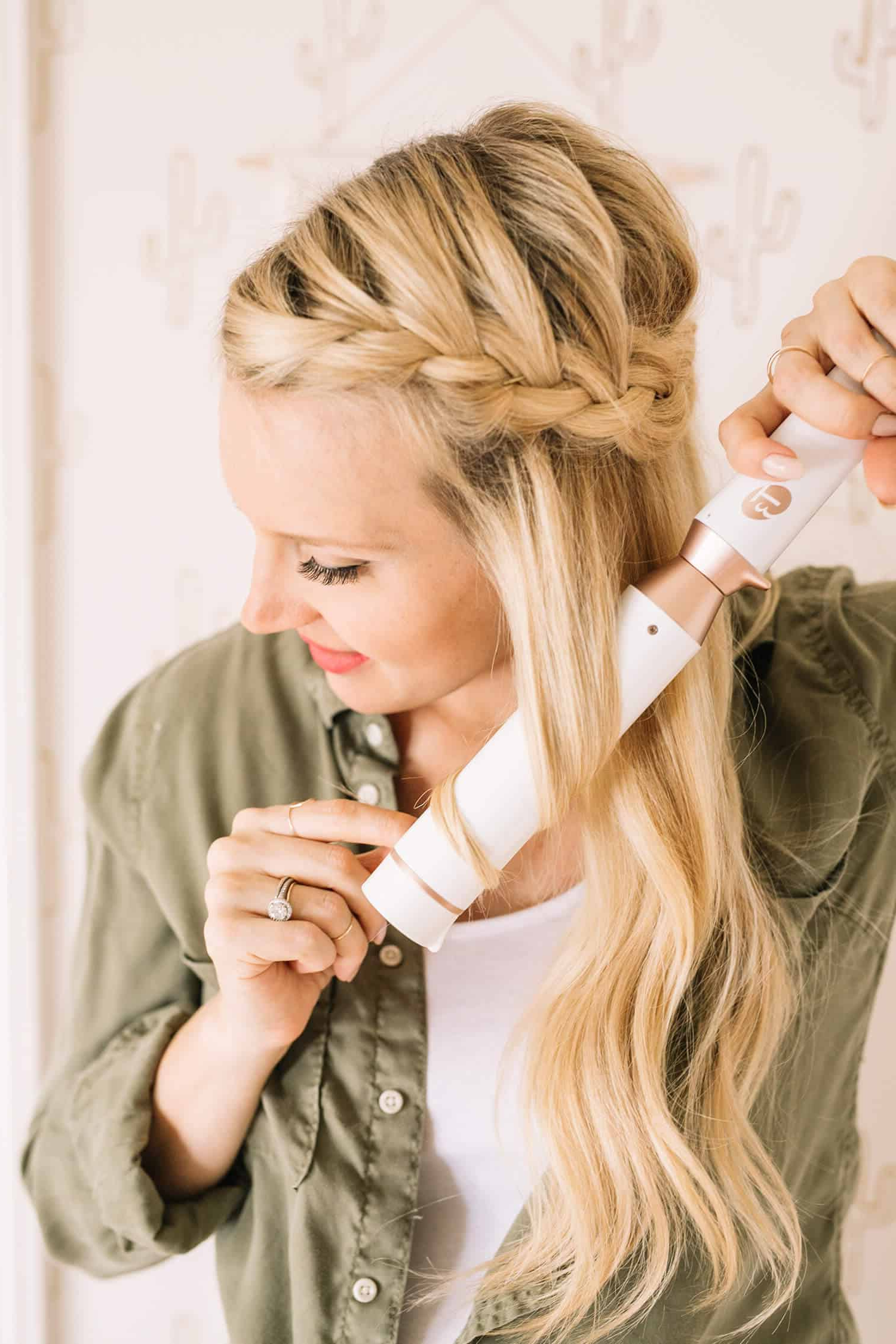 Popular Light Pink Semi Crown Braid Hairstyles In French Braid Half Crown – A Beautiful Mess (View 11 of 20)