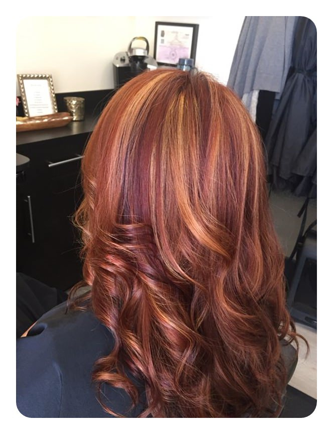 Popular Red Highlights For Type 3c Hairstyles Throughout 80 Stunning Red Hair With Highlights You Can Try Now (View 8 of 20)