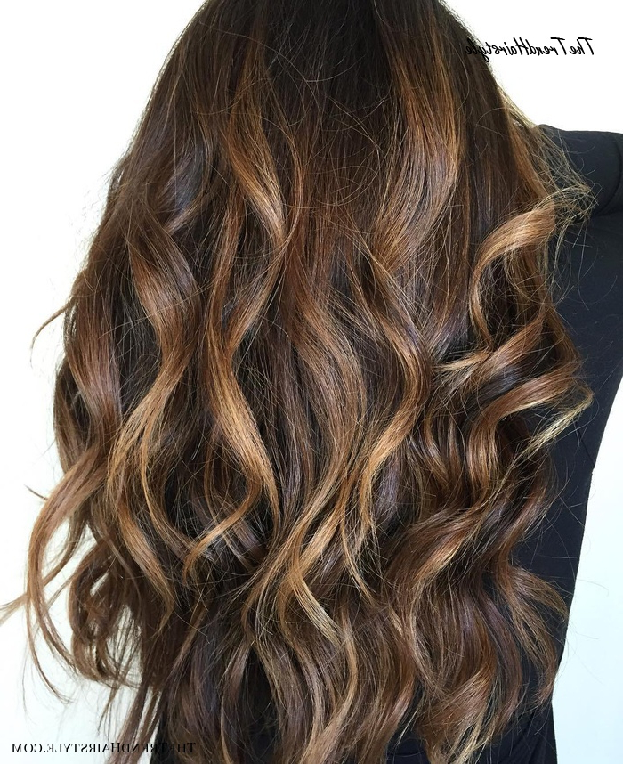 Preferred Natural Curls Hairstyles With Caramel Highlights Inside Long Waves With Warm Caramel Balayage – 70 Balayage Hair (View 9 of 20)