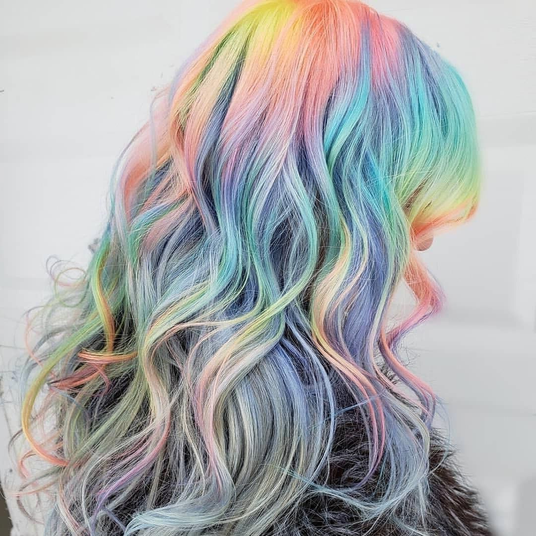 Rainbow Pastel Hair @hairbymisskellyo Source Inside Fashionable Pastel Rainbow Colored Curls Hairstyles (View 7 of 20)