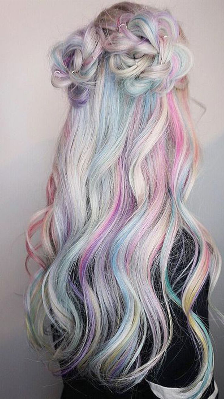 Recent Pastel Rainbow Colored Curls Hairstyles For Light Pastel Rainbow Hair Inspiration For Summer (View 14 of 20)